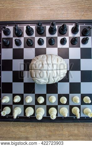 A Photo Of Playing Board For Chess With Brain Figurine In The Middle And Chess Pieces Aside. The Pho