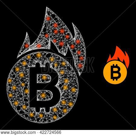 Glowing Hatched Burn Bitcoin With Glowing Spots. Wire Frame 2d Mesh Generated With Crossing White Li