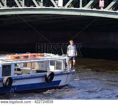 A Young Man On Board A River Cruise Ship, Neva River, Saint Petersburg, Russia, June 2021