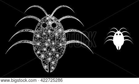 Bright Web Model Parasite With Light Spots. Linear Frame Flat Mesh Generated With Crossed White Line