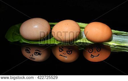 Brown Eggs With Faces And Personalities Reflected In A Black Mirror