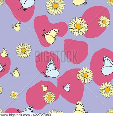 Vector Purple Background Daisy Flowers, Wild Flowers And Butterflies, Insects. Seamless Pattern Back