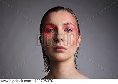 Headshot Of Caucasian Beautiful Woman With Bright Eyeshadow Make-up. Isolated.