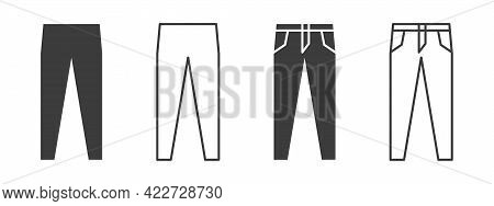 Pants Icons. Jeans Or Pants Icons. Clothing Symbol. Vector Illustration