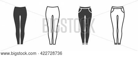 Pants Icons. Women's Pants Or Pants Signs. Clothing Symbol. Vector Illustration