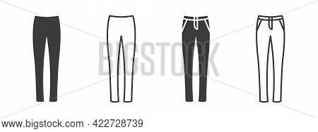 Pants Icons. Women's Jeans Or Pants Signs. Clothing Symbol. Vector Illustration