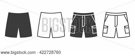 Shorts Icons. Shorts With Pockets Of Different Styles. Clothing Symbol Concept. Vector Illustration