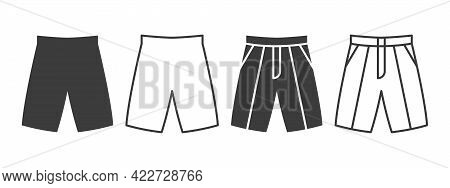 Shorts Icons. Trouser Shorts Of Different Styles. Clothing Symbol Concept. Vector Illustration