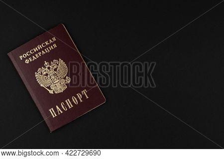 Russian Passport Close-up Lies On A Black Background