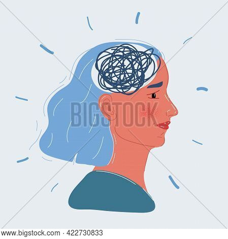 Vector Illustration Of Woman With Mess In Her Mind