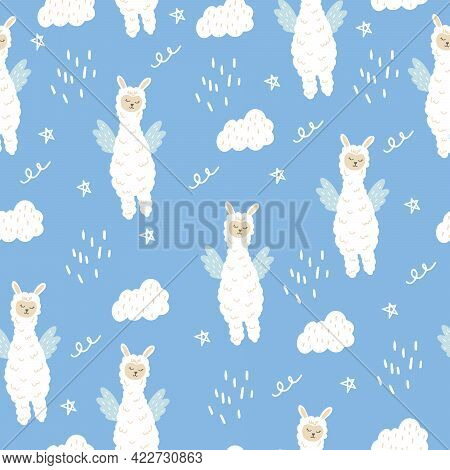 Seamless Pattern With A Cute Llama With Wings. A Fabulous Animal With Wings. Flat Doodle Style.  Vec