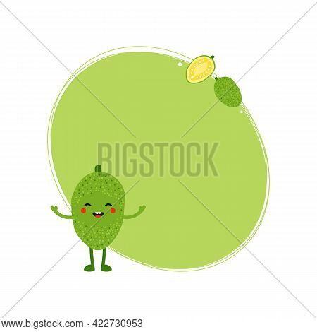 Cute Cartoon Style Green Jackfruit Character And Fresh Jackfruits Vector Oval Frame, Card Template,