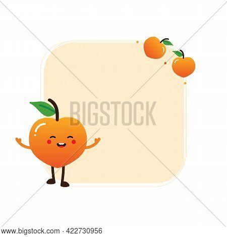 Cute Cartoon Style Orange Peach Character And Fresh Peach Fruits Vector Square Frame, Card Template,