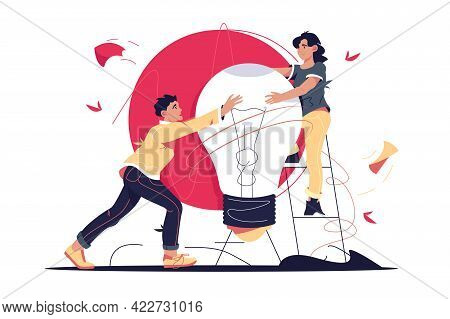Light Bulb As Symbol For Bright Idea Vector Illustration. Man And Woman Hold Lamp, Metaphor For Crea