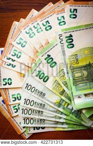 Euro Money. Euro Cash Background. Euro Money Banknotes Vintage Filter