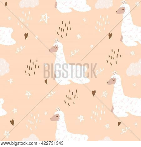 Seamless Pattern With A Cute Llama.  Flat Doodle Style.  A Fabulous Llama With Clouds For Decorating