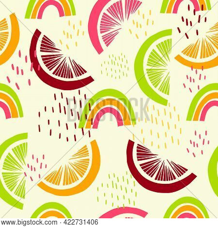 Seamless Pattern With Tropical Fruits. Citrus Fruits For Decoration Of Summer Dresses, Clothes, Fabr