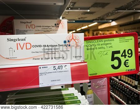 Siauliai, Lithuania - 4th June, 2021: Covid-19 Antigen Test Kit Packet For Sale In Supermarket. Self