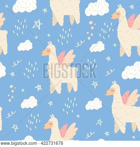 Seamless Pattern With A Cute Llama With Wings. Vector Illustration With A Llama For Decorating A Chi