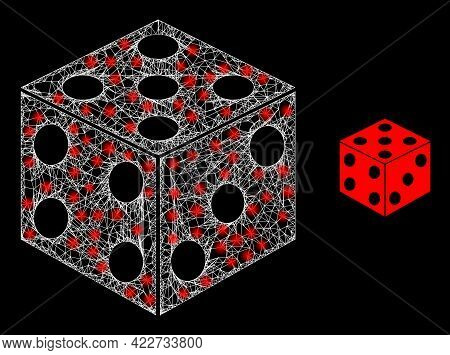 Glossy Web Model Dice Cube With Light Spots. Linear Frame Flat Mesh Generated With Intersected White