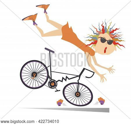 Cyclist Woman Falling Down From The Bicycle Illustration. Cyclist Woman Falling Down From The Broken
