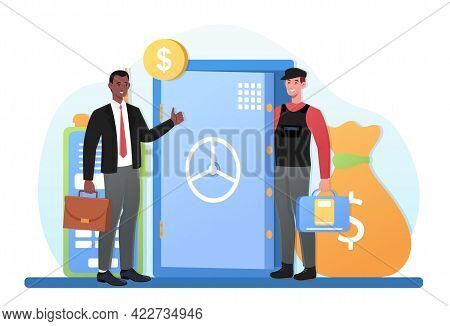 Malesmiling Encashment Or Collector Collecting And Transporting Money From Safe In Bulletproof Vest.