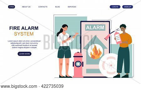 Male And Female Characters Are Getting Fire Alarm Notification On Smartphone. Smart Fire Accident Co