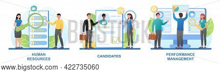 Set Of Male And Female Characters Searching For Employees. Concept Of Human Resources And Headhunter