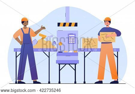 Two Male Characters In Workwear Are Recycling Iron Together. Concept Of Worker Control Machine Press