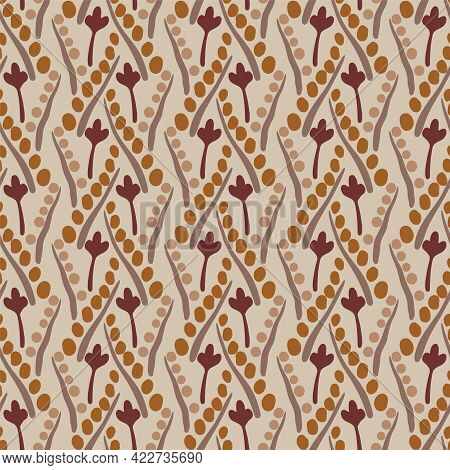Vector Simple Hand Drawn Floral And Winding Stems Seamless Pattern