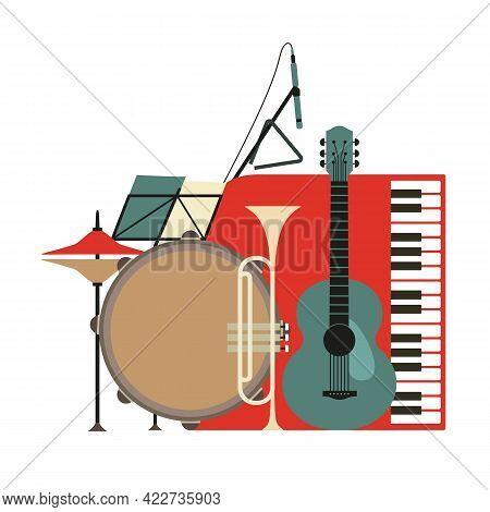 Musical Instruments Flat Color Vector Icon. Live Music Jazz Fest Cartoon Minimal Style Design Elemen