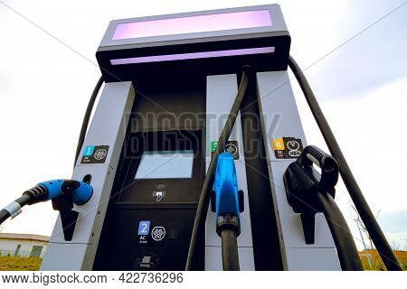 Ev Charging Station With Different Types Of Chargers. Electric Car Charging Station. Alternative Ene