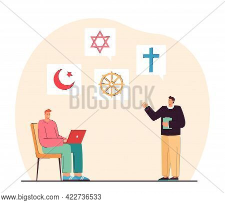Teacher Explaining Material About Different Religious Symbols. Student Learning Information About Is
