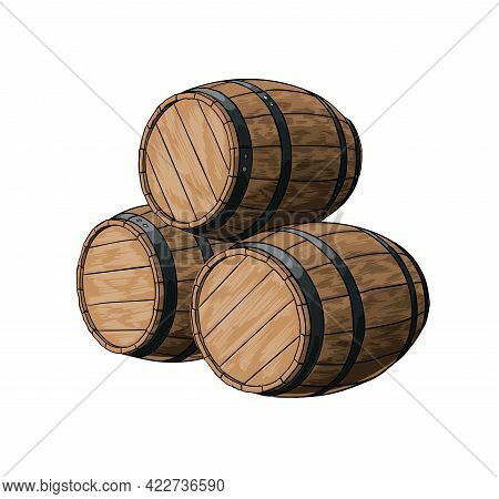 Wooden Barrel For Wine Or Other Drinks From A Splash Of Watercolor, Colored Drawing, Realistic. Vect