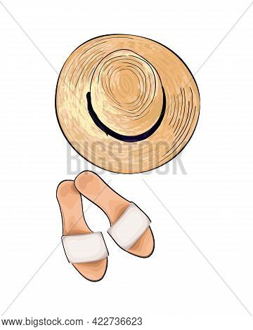 Straw Hat And Slippers From A Splash Of Watercolor, Colored Drawing, Realistic. Vector Illustration