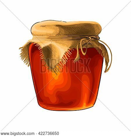Jar Of Honey From A Splash Of Watercolor, Colored Drawing, Realistic. Vector Illustration Of Paints
