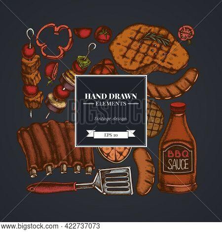 Square Design On Dark Background With Spatula, Pork Ribs, Kebab, Sausages, Steak, Sauce Bottles, Gri