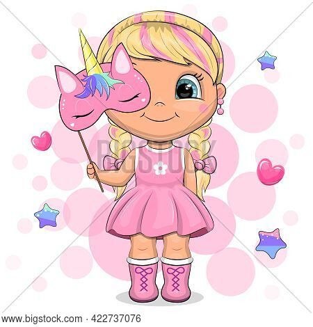 Cute Cartoon Blonde In A Pink Dress Holding A Unicorn Mask. Vector Illustration On A Pink Background