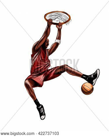 Abstract Basketball Player With Ball From Splash Of Watercolors, Colored Drawing, Realistic. Vector