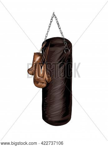 Boxing Gloves And Punching Bag, Colored Drawing, Realistic. Vector Illustration Of Paints