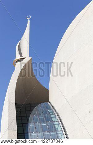 Cologne, France - September 9, 2018: Details Of Cologne Central Mosque, Germany