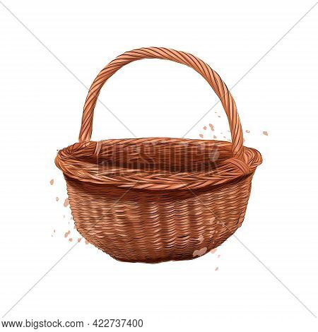 Wooden Rounded Wicker Basket From Splash Of Watercolors, Colored Drawing, Realistic. Vector Illustra