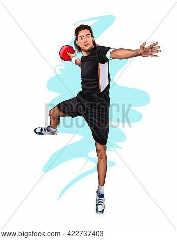 Abstract Handball Player Jumping With The Ball From Splash Of Watercolors, Colored Drawing, Realisti