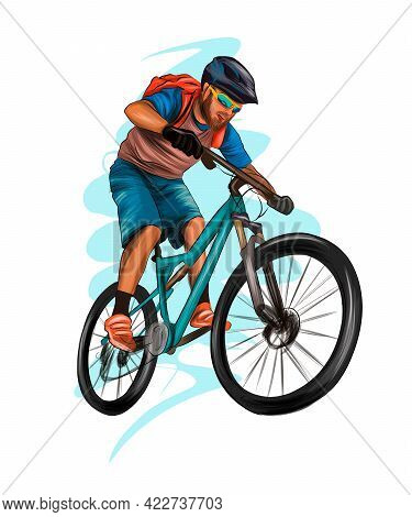 Abstract Cyclist On A Race Track From Splash Of Watercolors, Colored Drawing, Realistic, Athlete On
