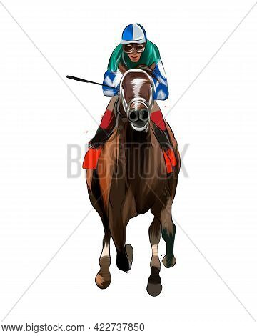 Horse Racing With A Jockey From Splash Of Watercolors, Colored Drawing, Realistic, Horseback Riding.