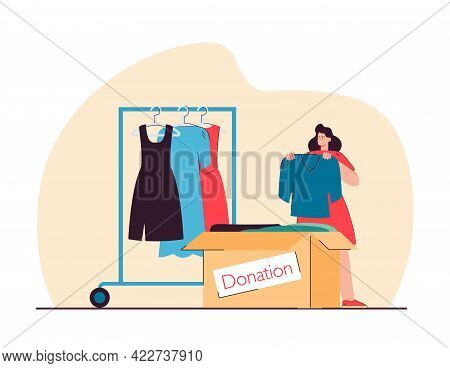 Woman Putting Clothes In Donation Box Flat Vector Illustration. Female Person Putting Dress From War