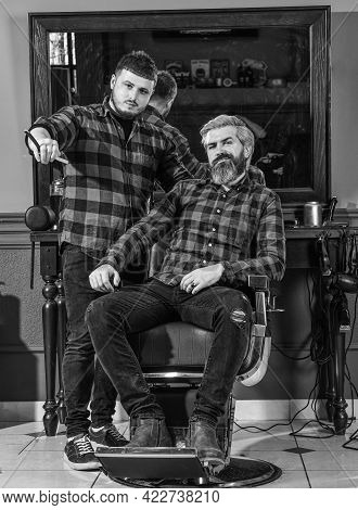 Beard Grooming. Person Sitting In Hydraulic Chair. Visit Hairdresser. Maintaining Shape. Man At Hair