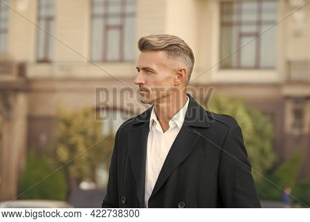 Fashion Style And Trend. Fashionable Look Of Man Walking In Office. Menswear Concept. Elegant And St