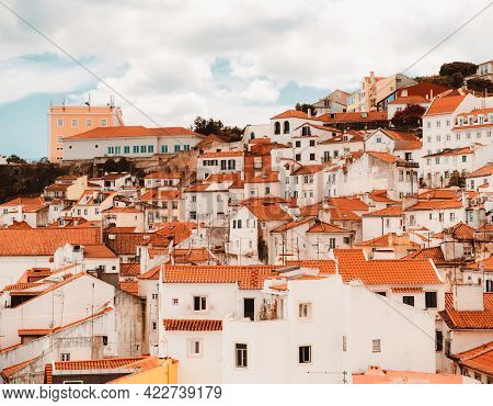 Plenty Of Traditional Crowded Antique Residential Houses With Orange Clay Triangle Roofs On The Hill