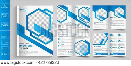 Minimal Clean Geometric Design Of An 8-page Yellow Color Template For Brochure, Flyer, Magazine, Cat